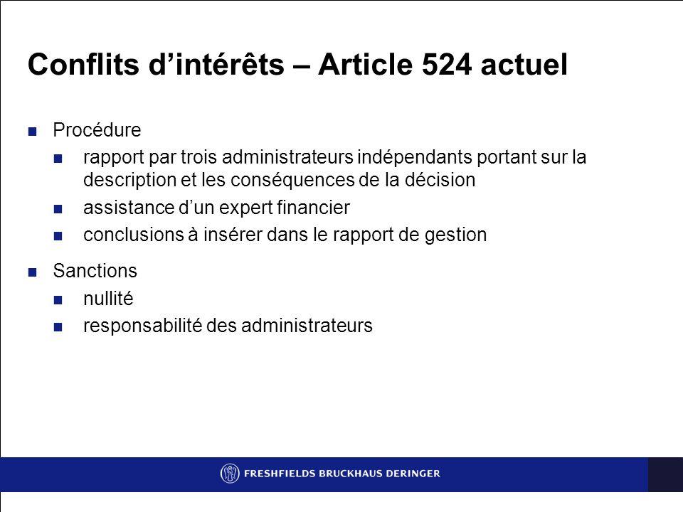 Conflits d'intérêts – Article 524 actuel