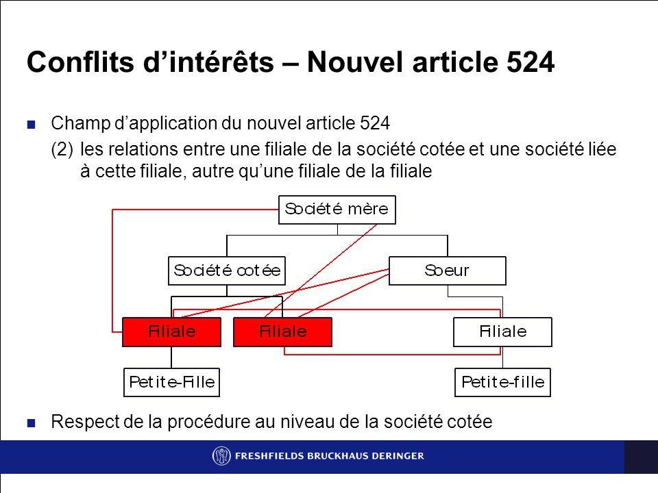 Conflits d'intérêts – Nouvel article 524