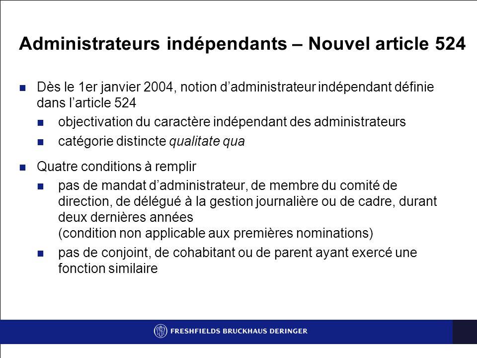 Administrateurs indépendants – Nouvel article 524