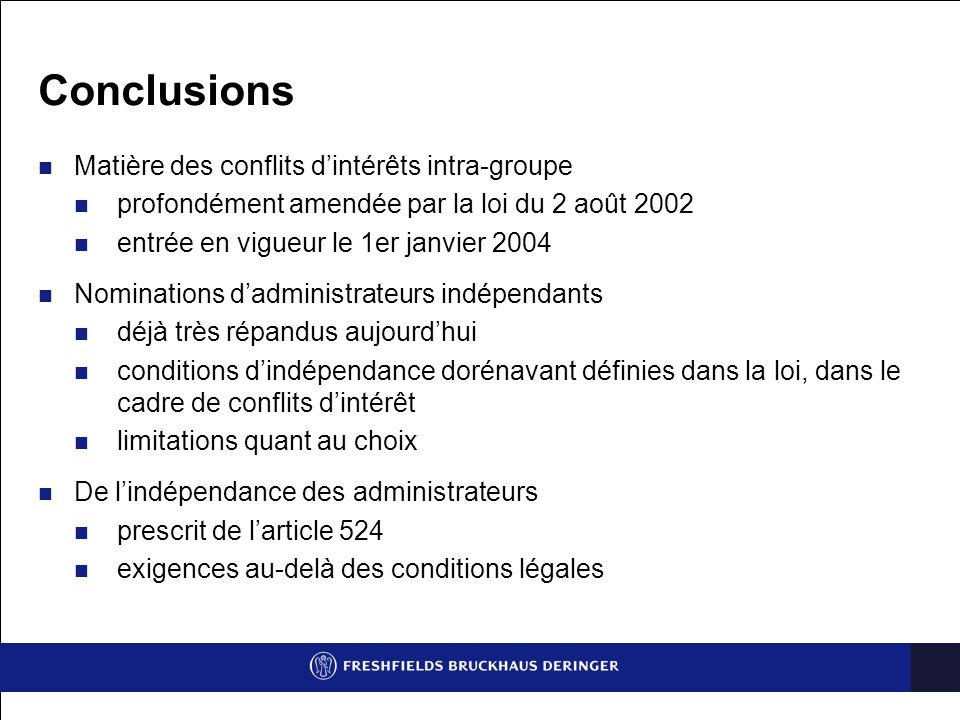 Conclusions Matière des conflits d'intérêts intra-groupe