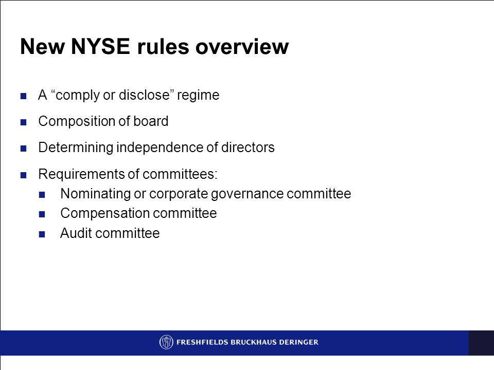 New NYSE rules overview