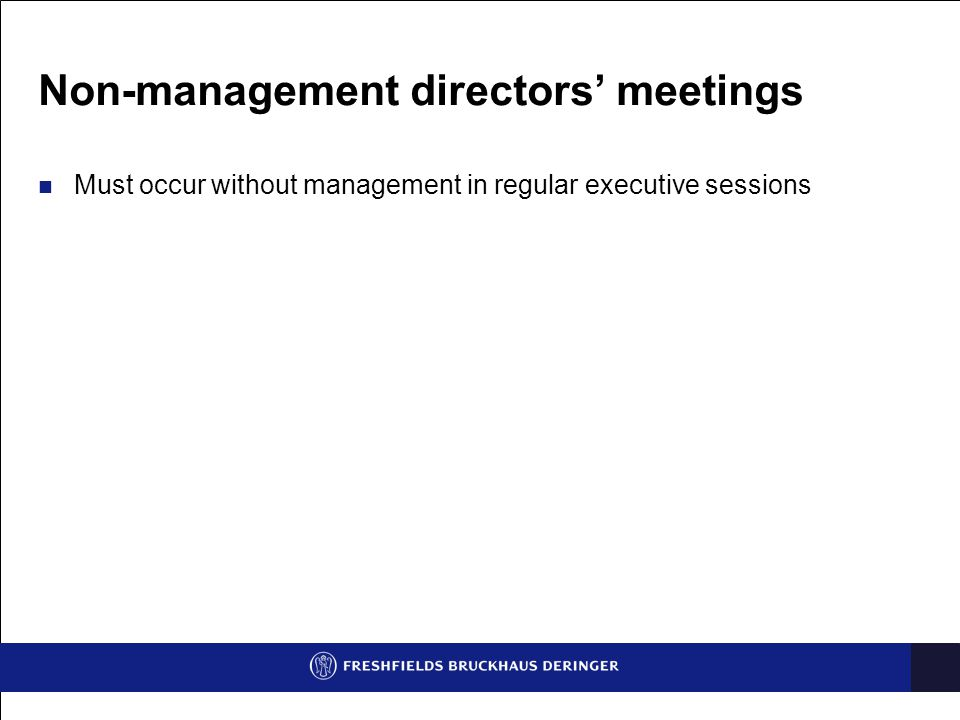 Non-management directors' meetings