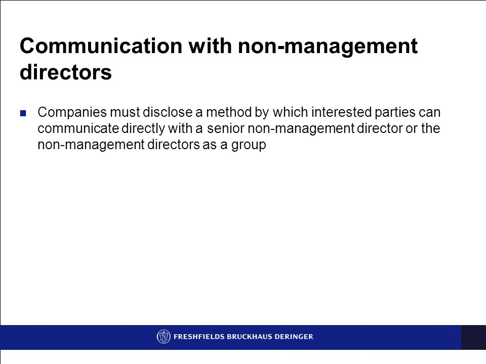 Communication with non-management directors