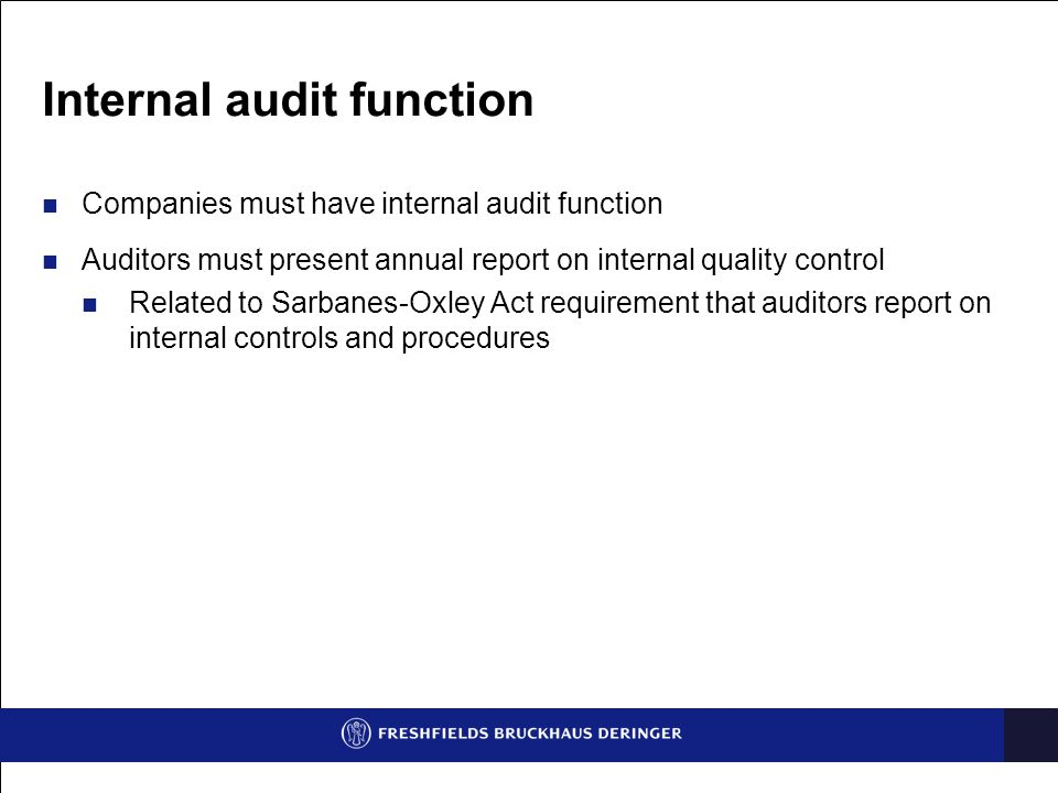 Internal audit function