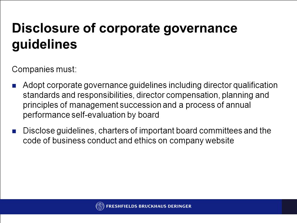 Disclosure of corporate governance guidelines