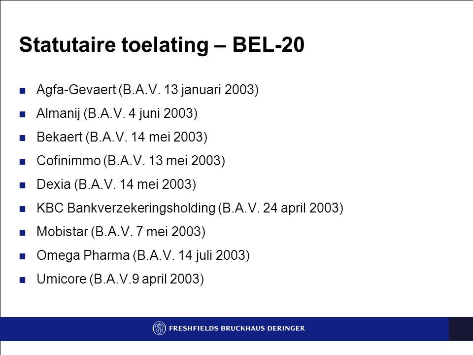 Statutaire toelating – BEL-20