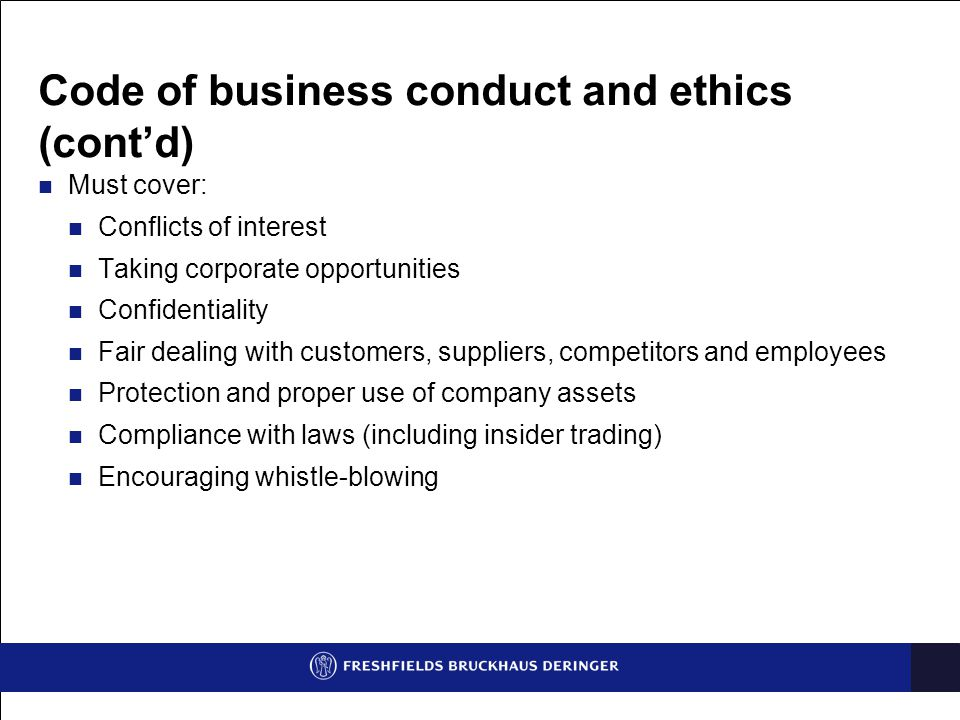 Code of business conduct and ethics (cont'd)