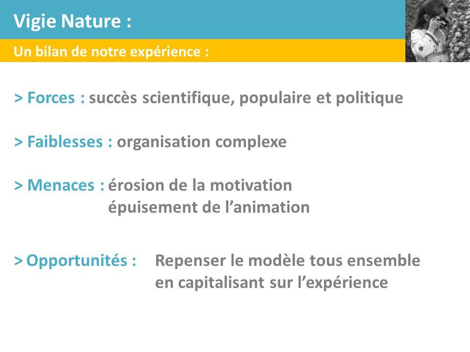 Vigie Nature : Un bilan de notre expérience : > Forces : succès scientifique, populaire et politique.