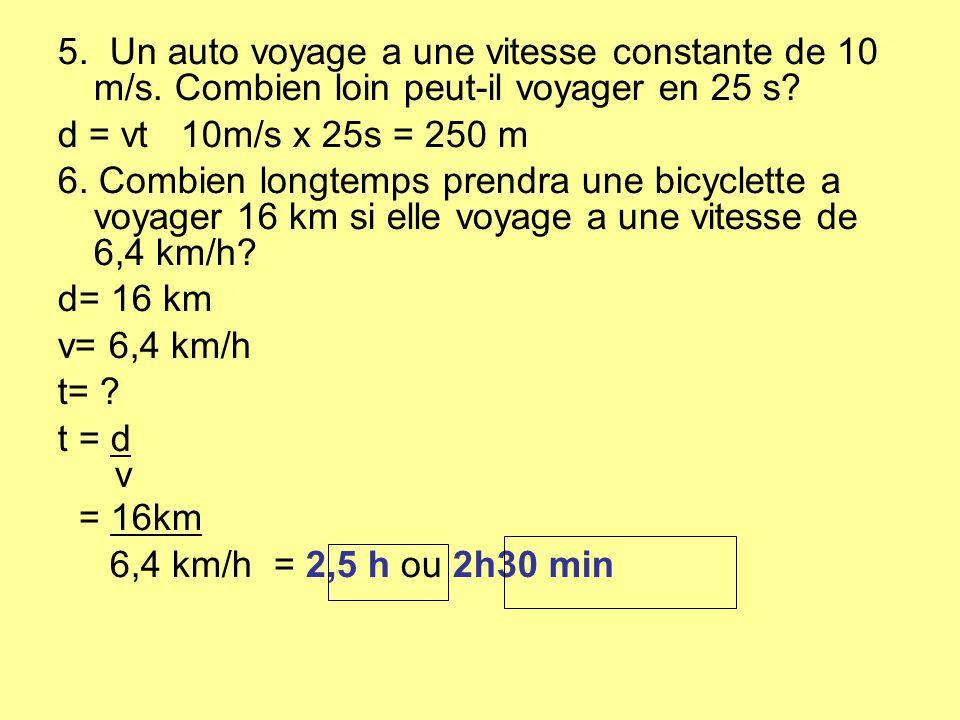 5. Un auto voyage a une vitesse constante de 10 m/s