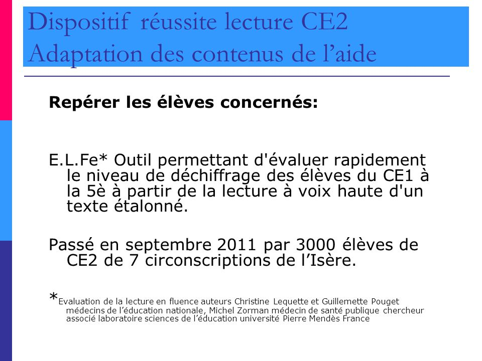 Dispositif réussite lecture CE2 Adaptation des contenus de l'aide