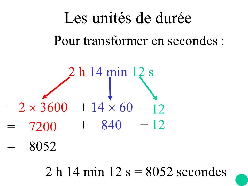 Les unités de durée Pour transformer en secondes : 2 h 14 min 12 s