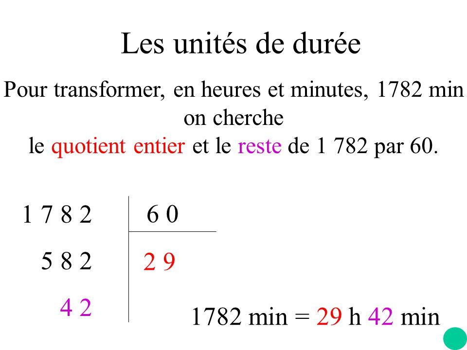 Les unités de durée 1 7 8 2 6 0 5 8 2 4 2 2 9 1782 min = 29 h 42 min
