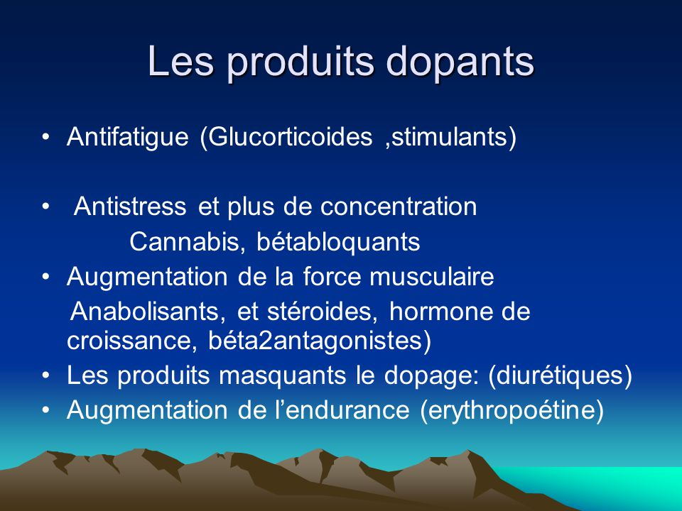 Les produits dopants Antifatigue (Glucorticoides ,stimulants)