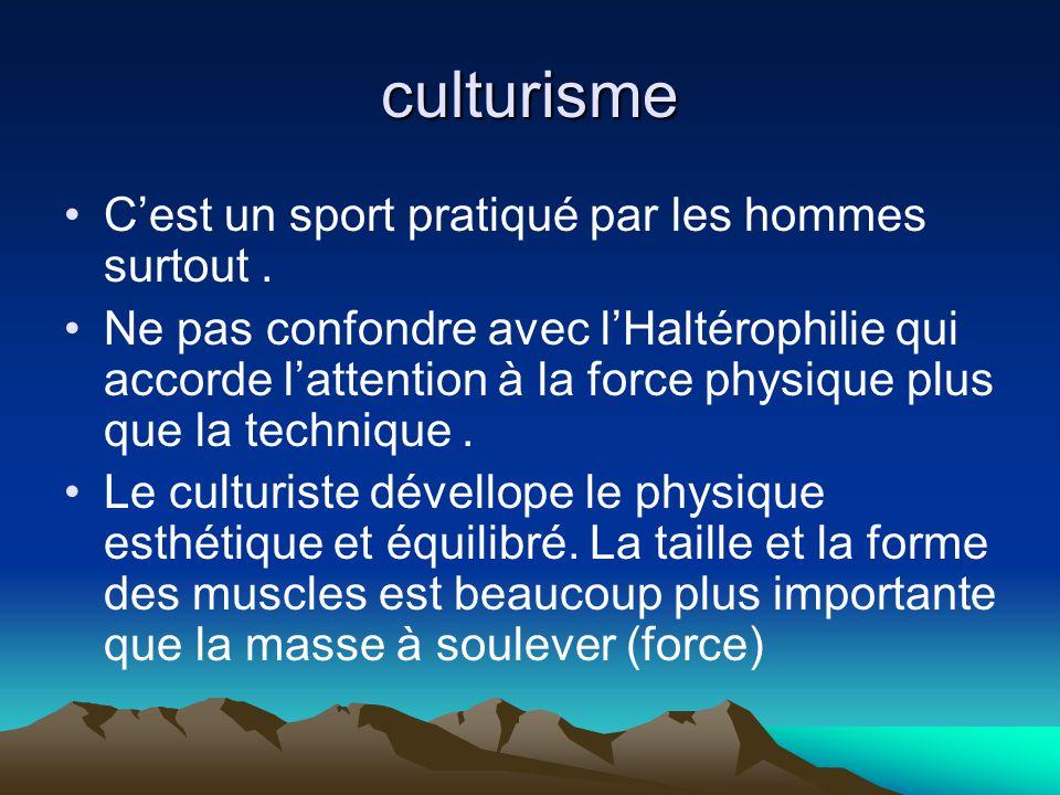 culturisme C'est un sport pratiqué par les hommes surtout .