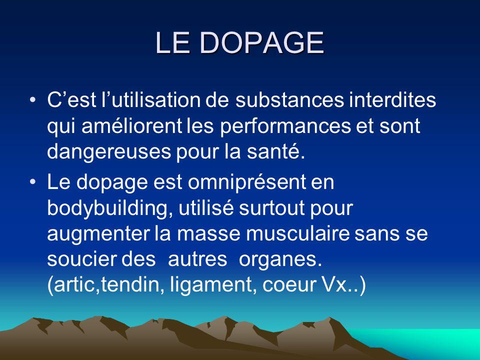 LE DOPAGE C'est l'utilisation de substances interdites qui améliorent les performances et sont dangereuses pour la santé.