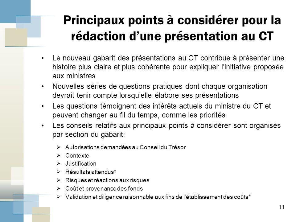 Principaux points à considérer pour la rédaction d'une présentation au CT