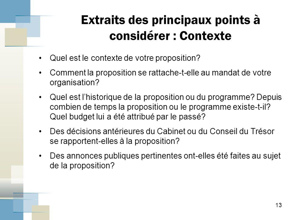 Extraits des principaux points à considérer : Contexte