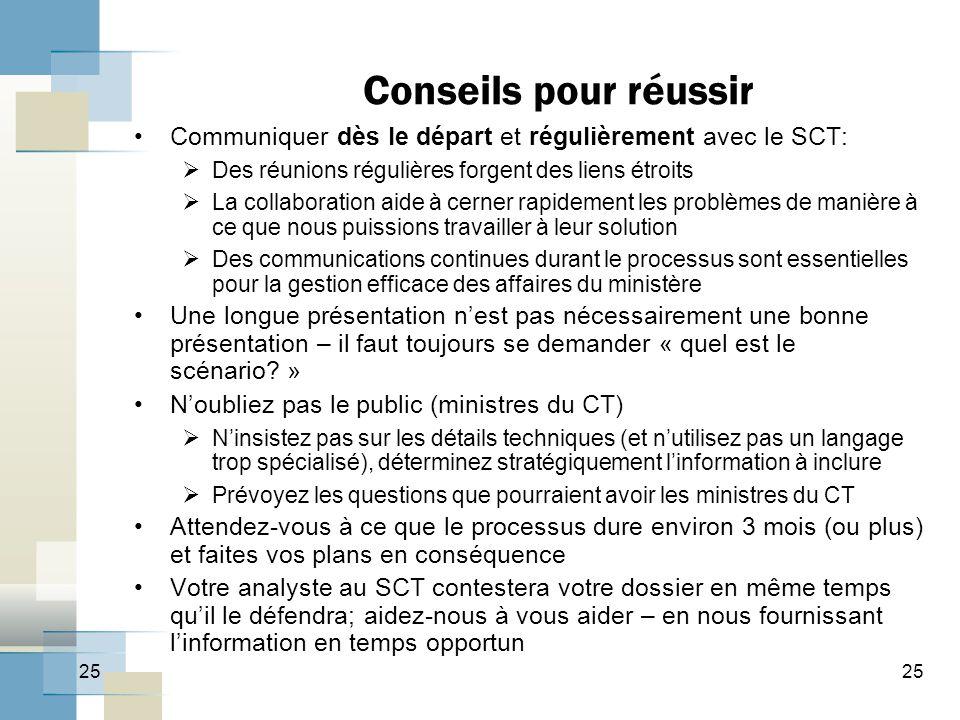Conseils pour réussir Communiquer dès le départ et régulièrement avec le SCT: Des réunions régulières forgent des liens étroits.