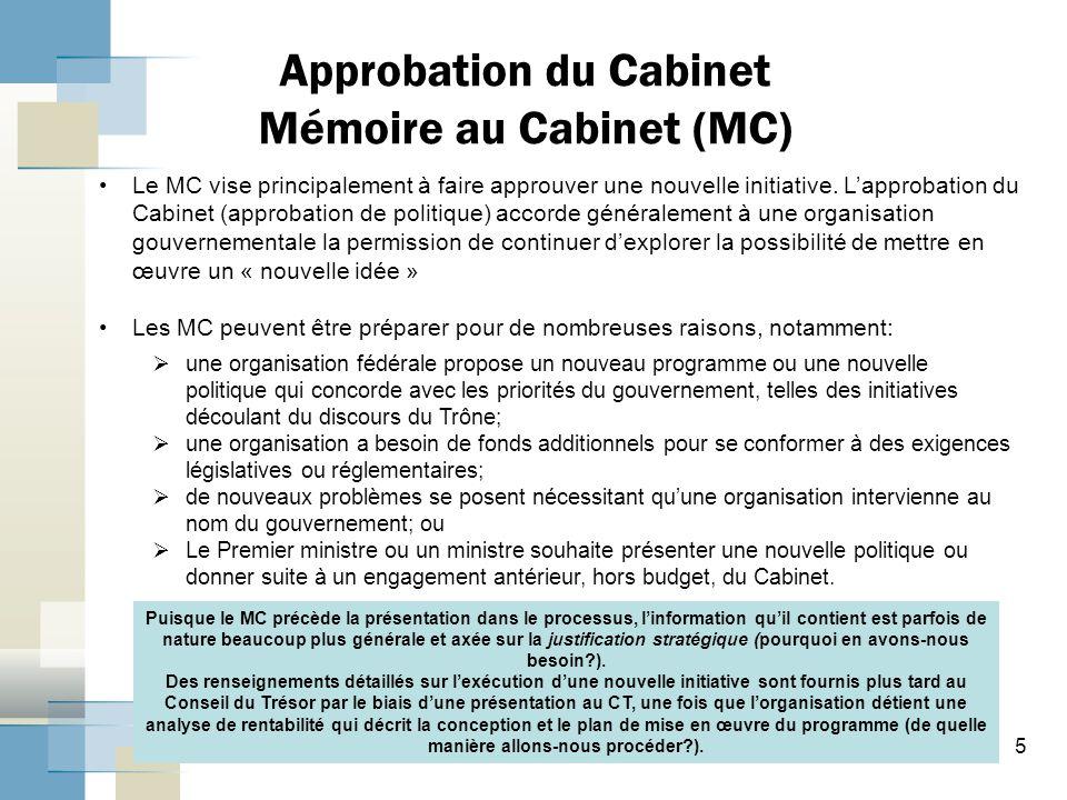 Approbation du Cabinet Mémoire au Cabinet (MC)