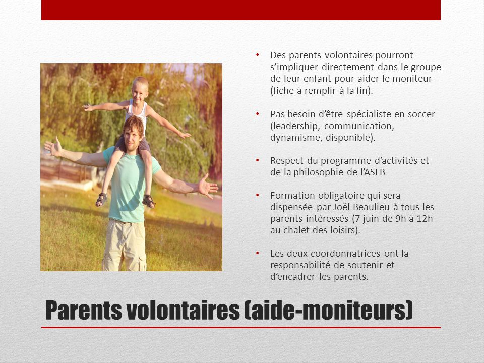Parents volontaires (aide-moniteurs)