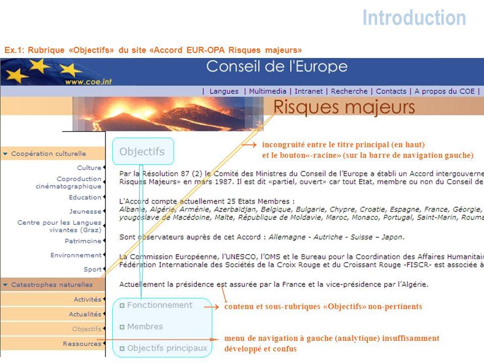 Introduction Ex.1: Rubrique «Objectifs» du site «Accord EUR-OPA Risques majeurs» →
