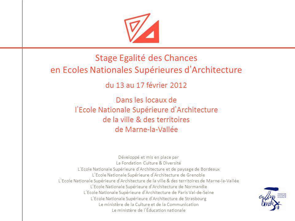 Stage Egalité des Chances en Ecoles Nationales Supérieures d'Architecture