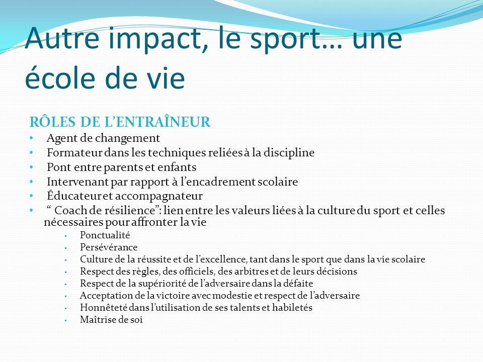 Autre impact, le sport… une école de vie