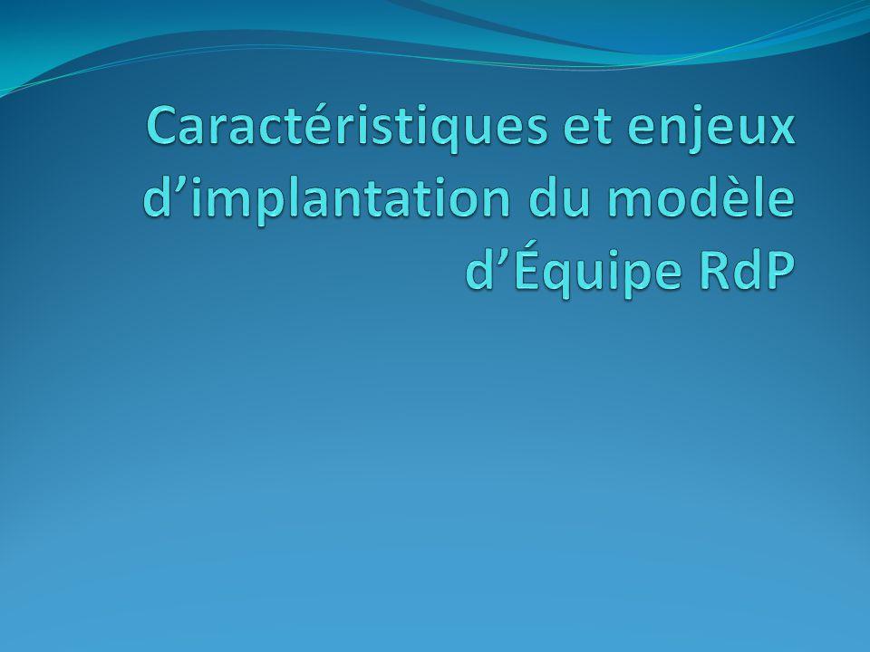 Caractéristiques et enjeux d'implantation du modèle d'Équipe RdP
