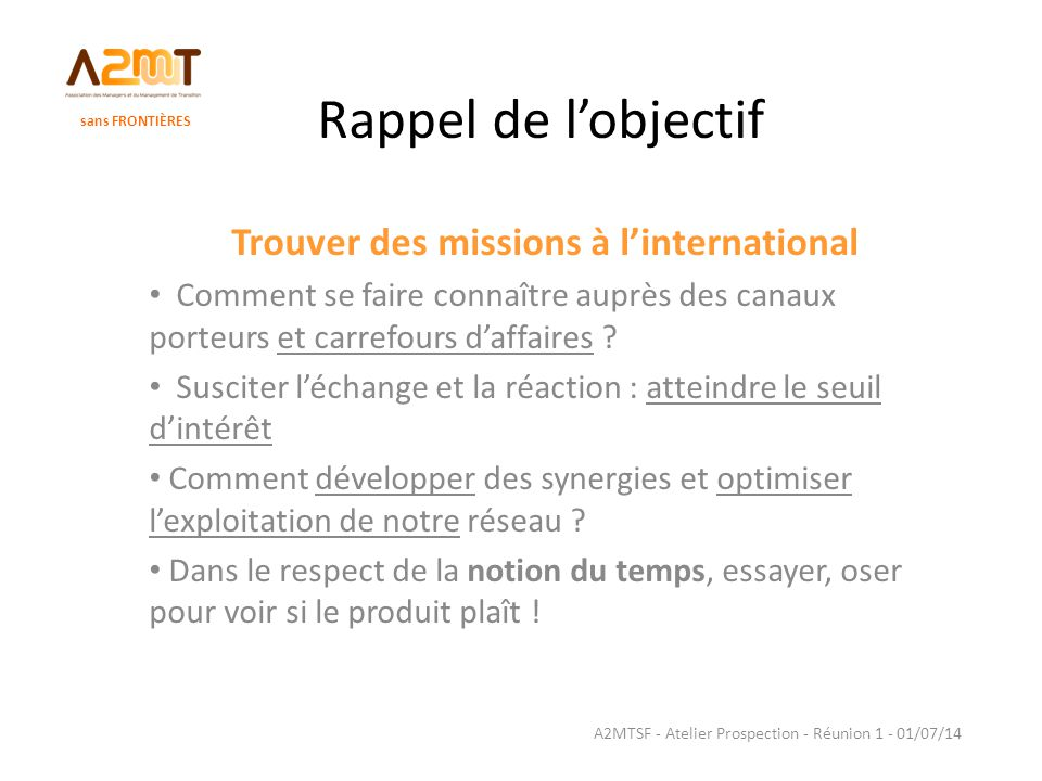 Trouver des missions à l'international