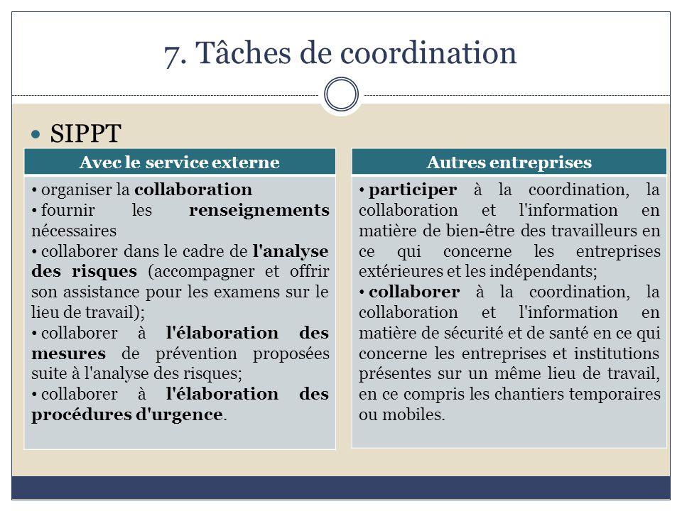 7. Tâches de coordination
