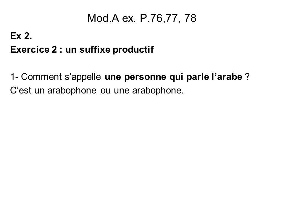 Mod.A ex. P.76,77, 78 Ex 2. Exercice 2 : un suffixe productif