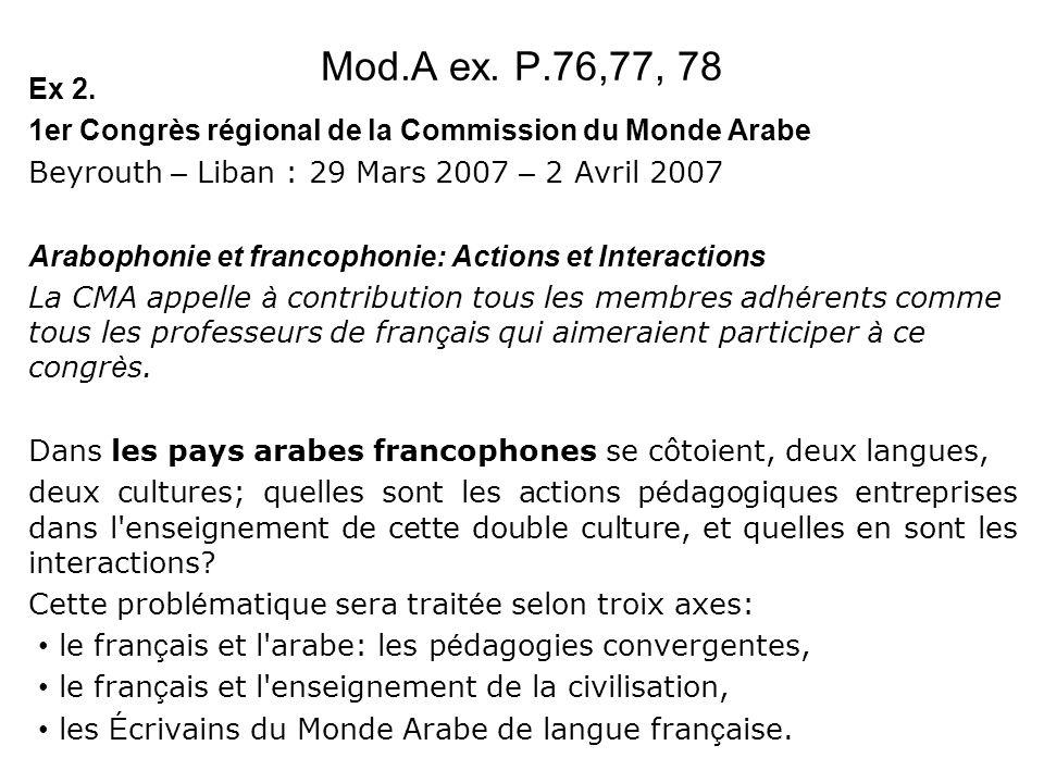 Mod.A ex. P.76,77, 78 Ex 2. 1er Congrès régional de la Commission du Monde Arabe. Beyrouth – Liban : 29 Mars 2007 – 2 Avril 2007.