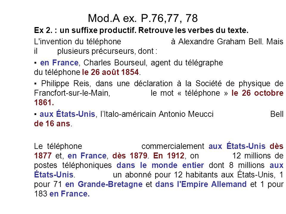 Mod.A ex. P.76,77, 78 Ex 2. : un suffixe productif. Retrouve les verbes du texte.