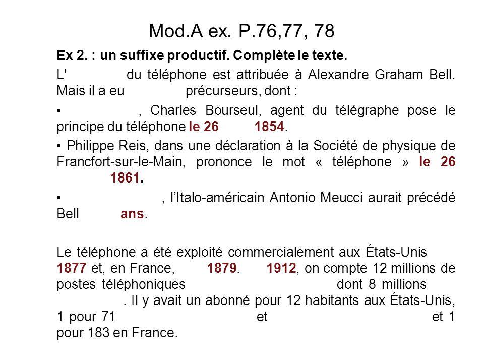 Mod.A ex. P.76,77, 78 Ex 2. : un suffixe productif. Complète le texte.