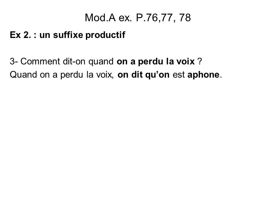 Mod.A ex. P.76,77, 78 Ex 2. : un suffixe productif