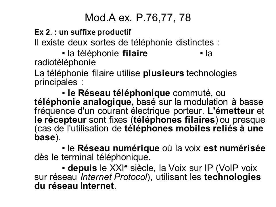 Mod.A ex. P.76,77, 78 Il existe deux sortes de téléphonie distinctes :