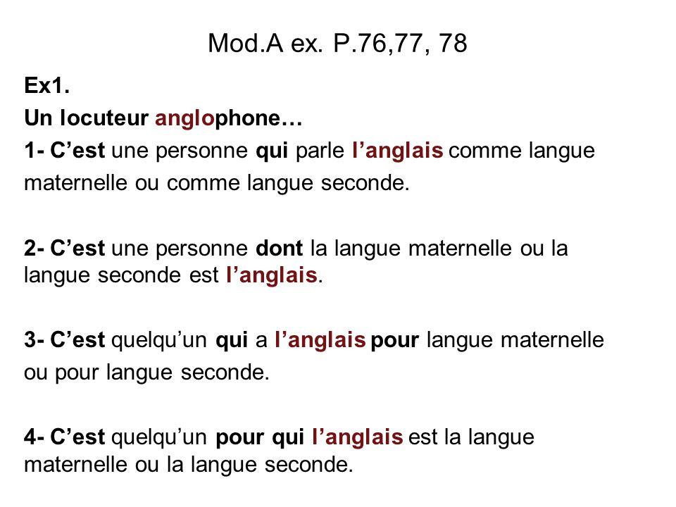 Mod.A ex. P.76,77, 78 Ex1. Un locuteur anglophone…