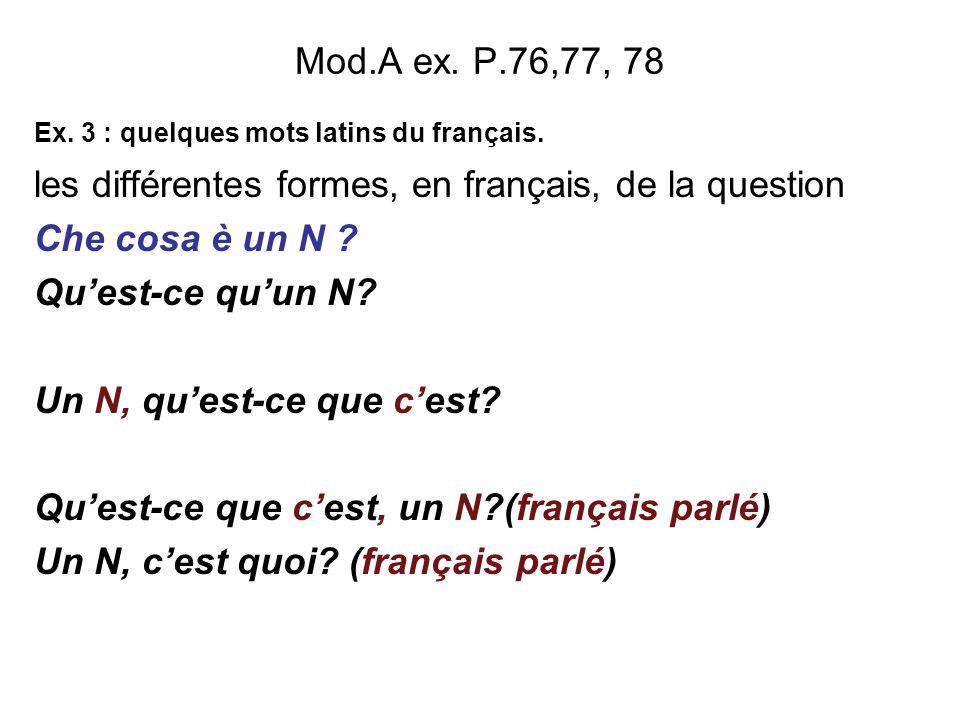 les différentes formes, en français, de la question Che cosa è un N