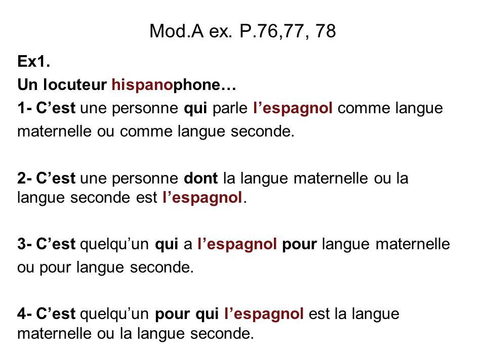 Mod.A ex. P.76,77, 78 Ex1. Un locuteur hispanophone…