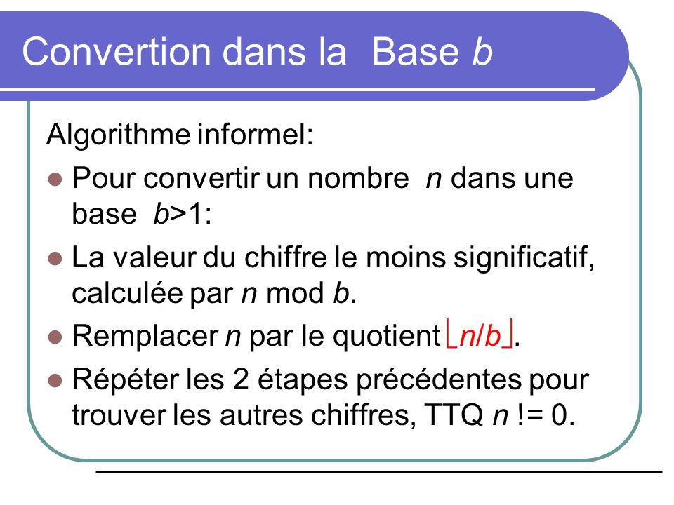 Convertion dans la Base b