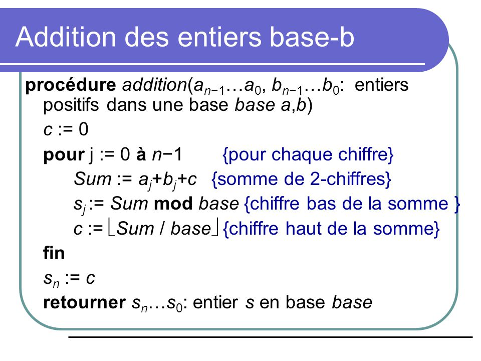 Addition des entiers base-b