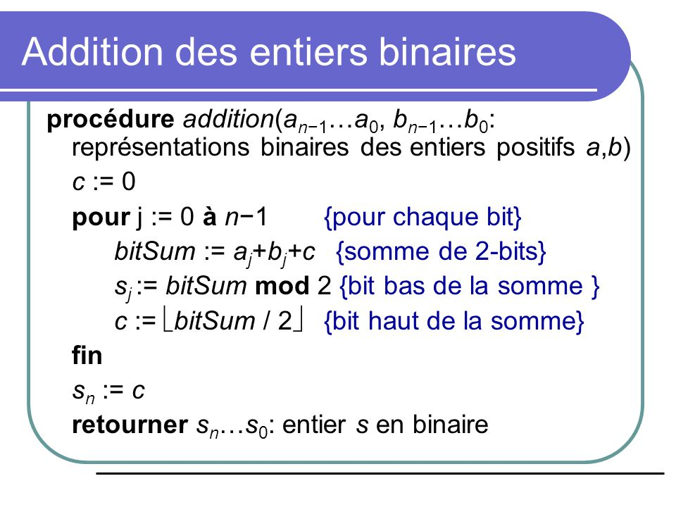 Addition des entiers binaires
