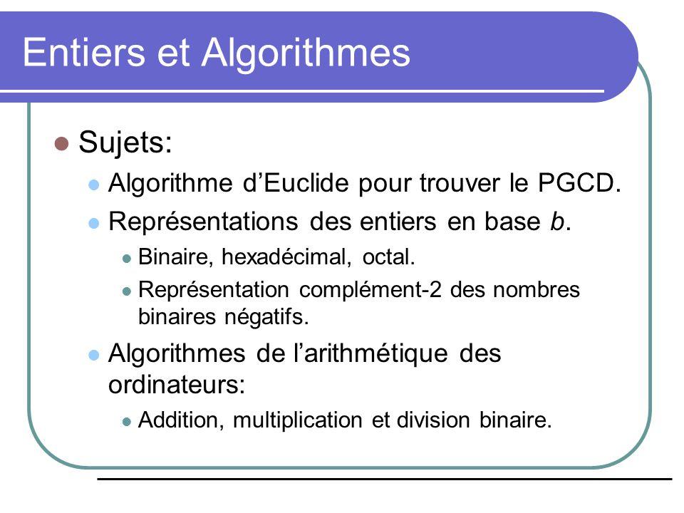 Entiers et Algorithmes