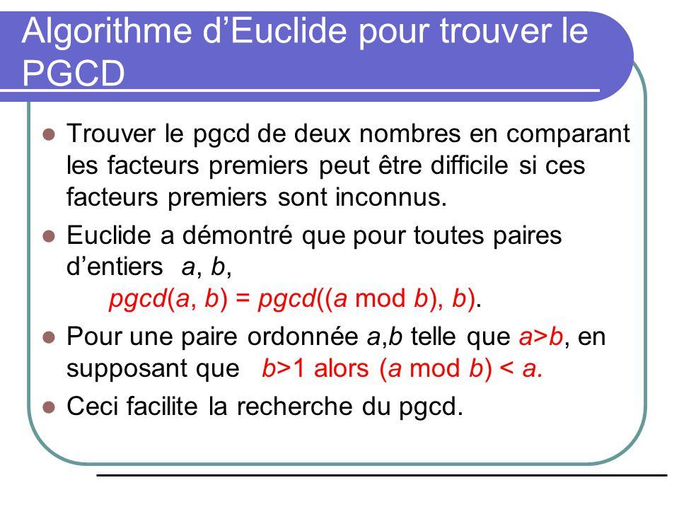 Algorithme d'Euclide pour trouver le PGCD