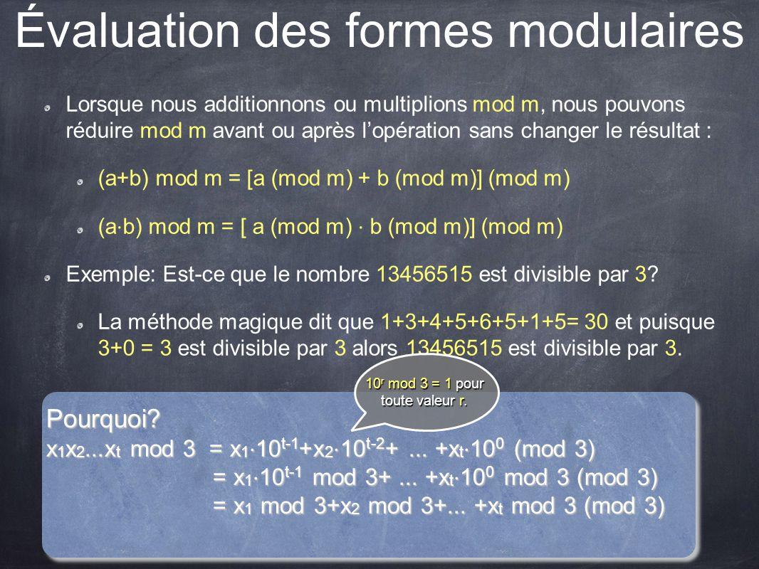 Évaluation des formes modulaires