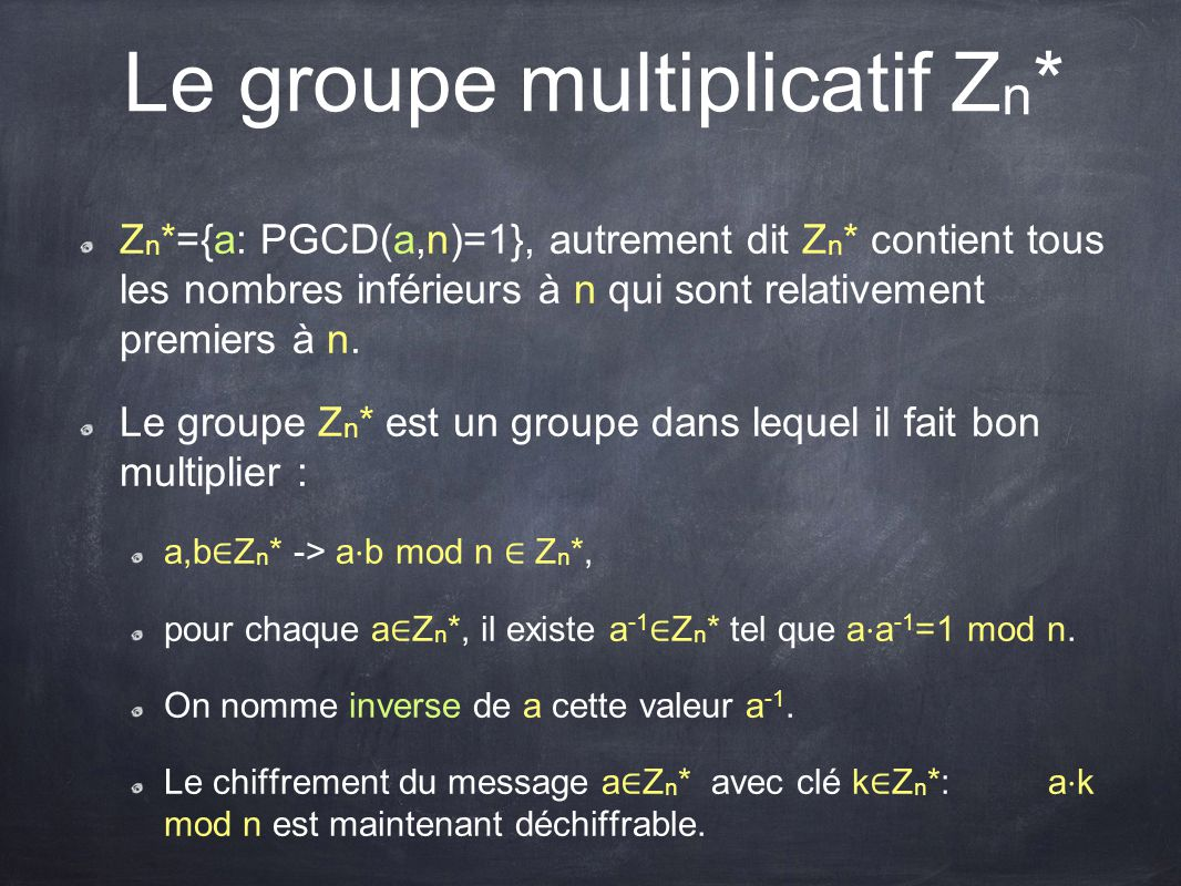 Le groupe multiplicatif Zn*