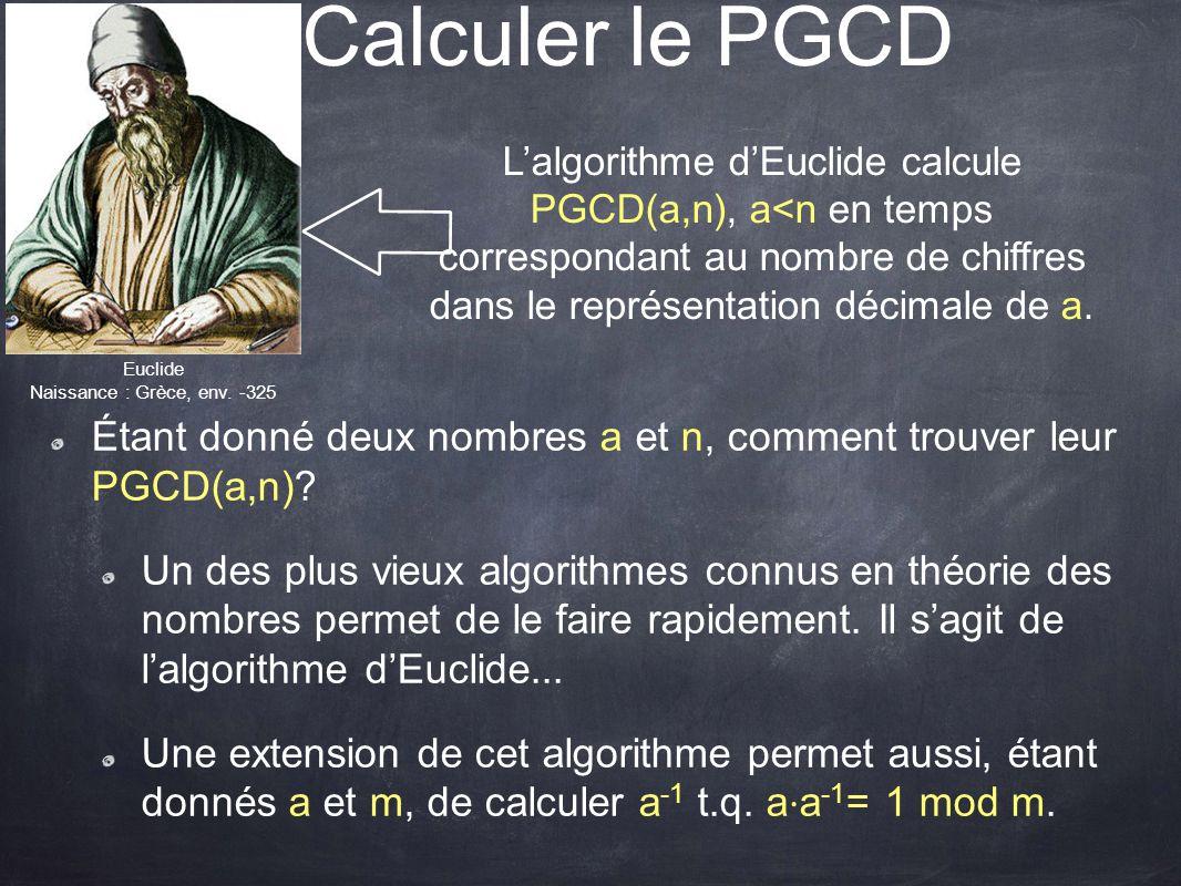 L'algorithme d'Euclide calcule