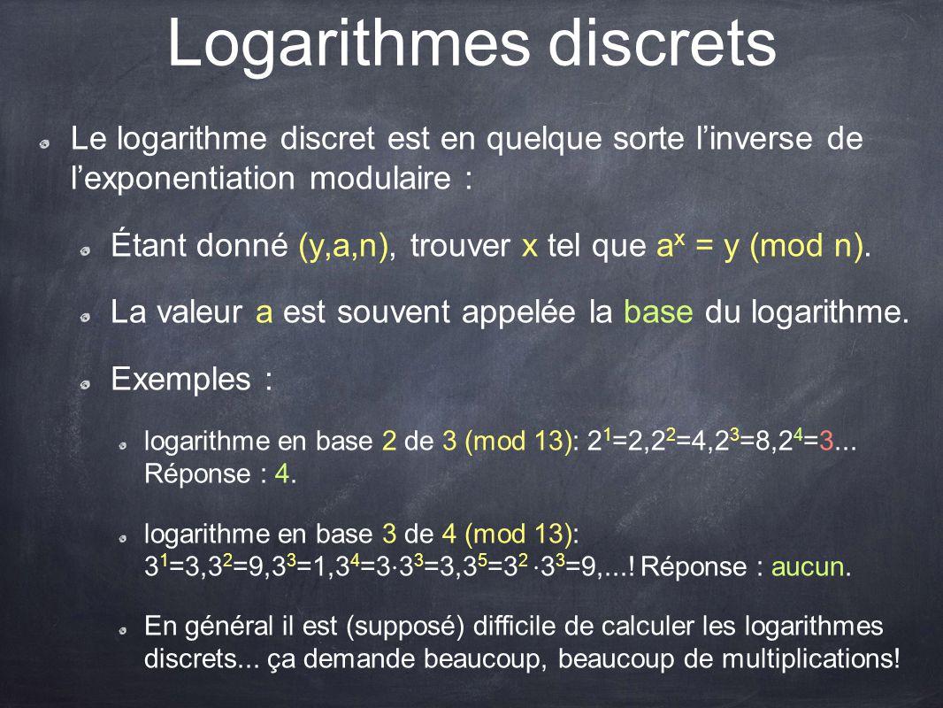 Logarithmes discrets Le logarithme discret est en quelque sorte l'inverse de l'exponentiation modulaire :