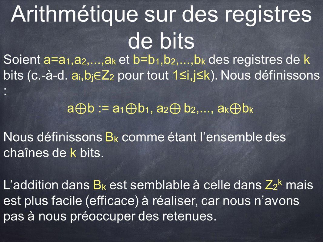 Arithmétique sur des registres de bits