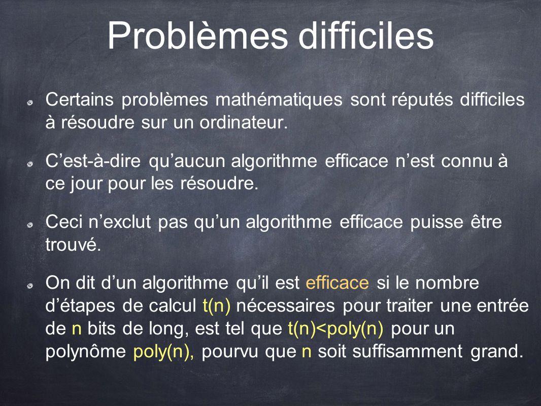 Problèmes difficiles Certains problèmes mathématiques sont réputés difficiles à résoudre sur un ordinateur.